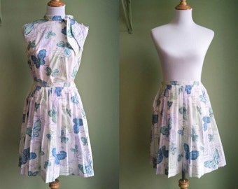 1950s Butterfly Kisses Dress - Flirty 2 Piece Butterfly Printed Set - Small