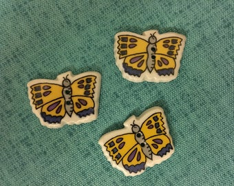 BUTTONS - 1990s Vintage New Hand-made Ceramic Yellow Butterflies Buttons (set of 3)