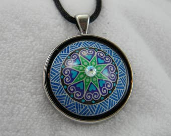 Round Blue Hearts Pysanky Necklace