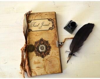 Vintage Travel Journal standard Midori, journal with pocket, junk journal, travel scrapbook, small journal,  gift for traveler, travelogue