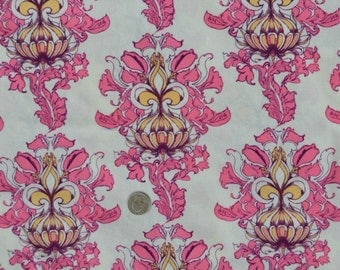 Tina Givens fabric, Lilliput Fields Vintage Take, pink, 1 yard, fabric destash.
