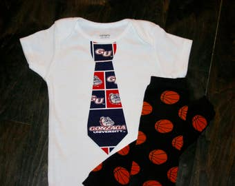 Gonzaga Bulldogs tie onesie or shirt - Bulldogs  Baby outfit - Gonzaga basketball - add leg warmers