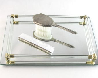 Luxurious Mirrored Vanity Tray with Glass and Brass Capped Rails