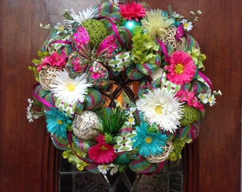 Bright Colored Whimsical Butterfly Wreath