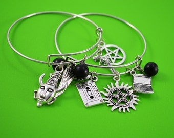Supernatural Inspired Bangle Bracelet ~ Demon Hunter ~ Vampires ~ Angels ~ Fandom Jewelry ~ Supernatural Themed Bracelet