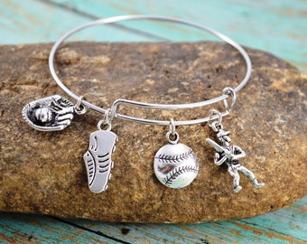Baseball Bangle Bracelet ~  Sports Jewelry ~ Baseball Mom Jewelry ~ Themed Bracelet ~ Boy Mom