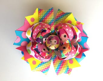 SALE! Ready To Ship Hairbow! Lalaloopsy Hairbow, Crumbs Sugar Cookie Hairbow, Lalaloopsy Doll Hairbow, Polka Dot Boutique Hairbow, Girls Bow