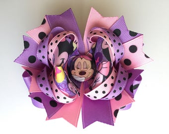 SALE! Ready To Ship Hairbow! Pink And Purple Minnie Mouse Hairbow, Minnie Mouse Polka Dot Hairbow, Polka Dot Boutique Hairbow, Girls Hairbow