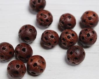 Vintage carved wood beads
