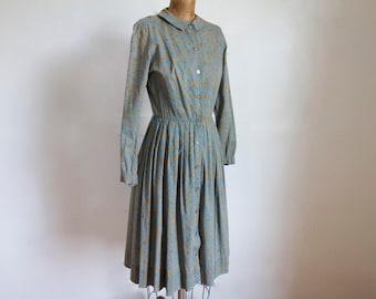 1950s Botanicals Cotton Shirtdress / Vintage 50s Peck & Peck Cotton Day Dress / Small