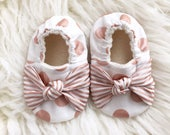 Size 6-12 Months RTS Rose Gold Knot Bow Soft Sole Vegan Baby Shoes