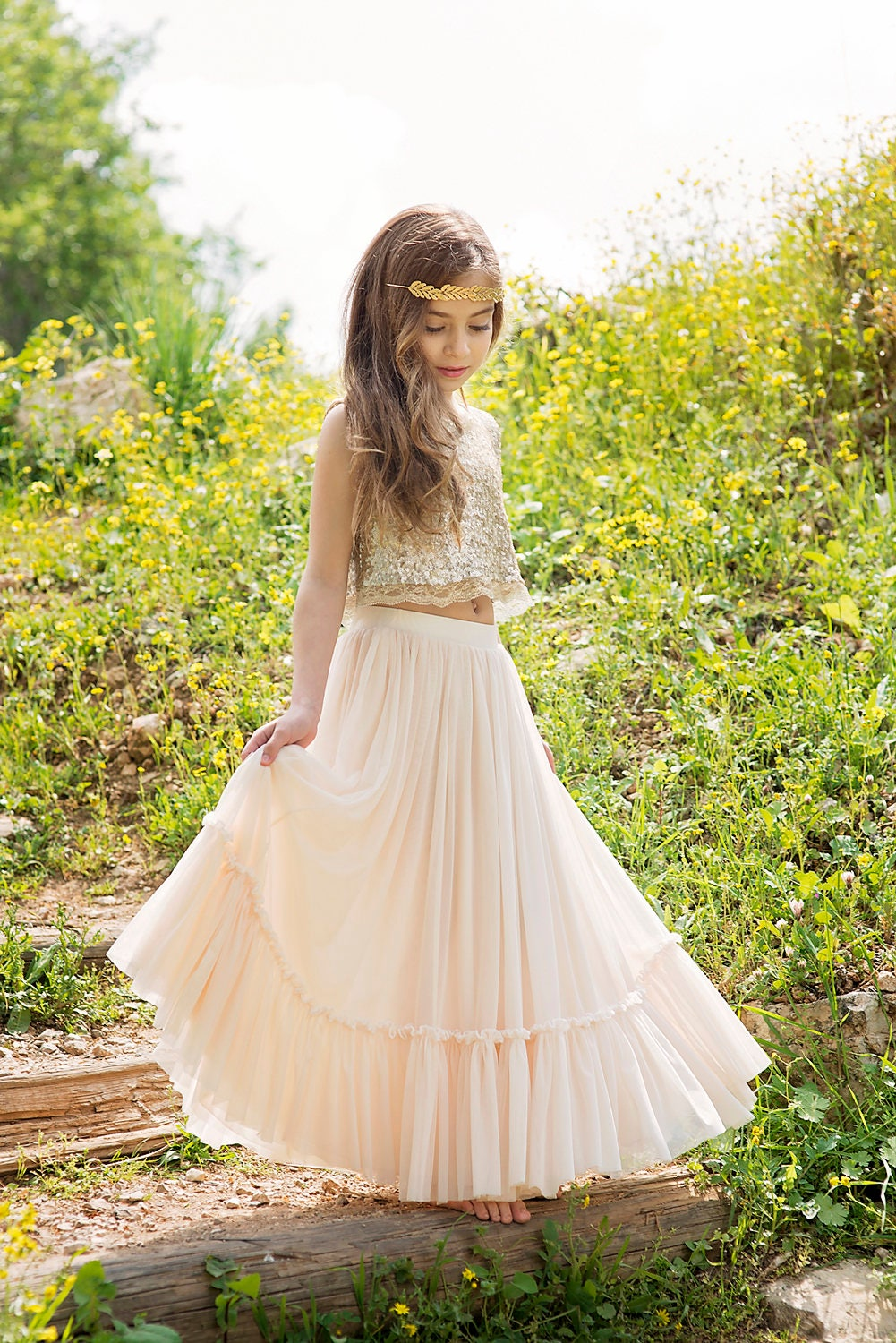 Gold boho chic flower girl dress junior bridesmaid dress zoom ombrellifo Gallery