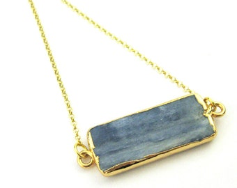 Kyanite Bar Pendant Necklace- Short Kyanite Connector Gem Bar Necklace-Gold plated Sterling Silver Necklace Chain-SKU: 692129