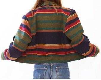 VTG 90s Southwestern Blanket Coat Native American striped Ethnic Bolero Jacket