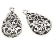 2pc 29X17mm antique silver finish metal  teardrop hollow pendant-7228g