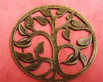 2pc 46x42mm antique bronze round tree pendant-799D