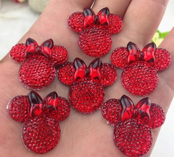 6pcs Red 28mm Flat Back Mouse Head & Bow Resin Rhinestones Gems - DIY Craft Embellishments by MajorCrafts