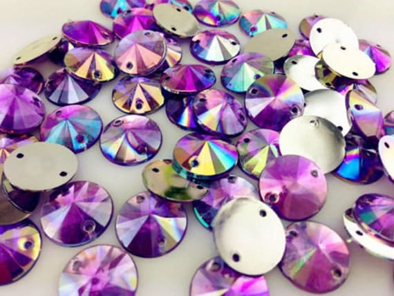 Light Purple AB Round Flat Back Pointed Sew On Rivoli Resin Rhinestones Embellishment Gems C3