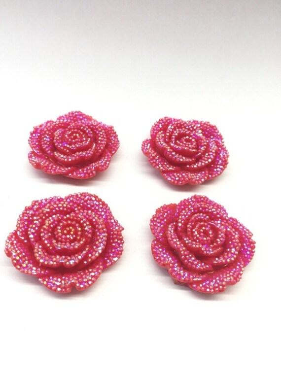 2pcs Bright Red AB 42mm Large Flat Back Chunky Resin Rhinestone Rose Flower Embellishments C4