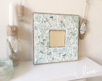 Sea Glass Mirror Isle of Wight Beach Home Decor Natural Nautical Wall Hanging Beautiful Unique Beach Style Bathroom Mirror Mosaic Duckegg
