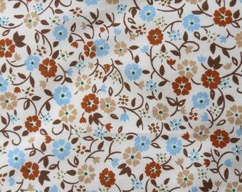 Vintage Sheet Fabric Fat Quarter - Tiny Brown Blue Floral - 1 FQ