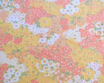 Vintage Sheet Fabric Fat Quarter - Orange Yellow Field
