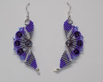 Wavy Micro Macrame  Earrings Beaded Lavender-Gray Purple White