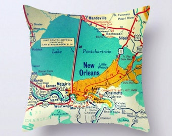 New Orleans Map Pillow Cover, N.O. LA, New Orleans Pillow, Nola Gift, Nola Pillow, Lake Pontchartrain LA big easy pillow, New Orleans Map