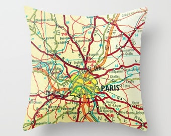 Paris Map Pillow Cover, Husband Birthday Gift, Husband Gift, PARIS Map, Vintage Paris Pillow, Mens Gift, Decorative Pillow, Travel Map Gift
