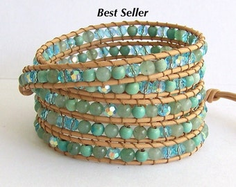 Turquoise Wrap Bracelet - Turquoise Mix Beads, Natural Leather - Boho Beach Surfer Wrap