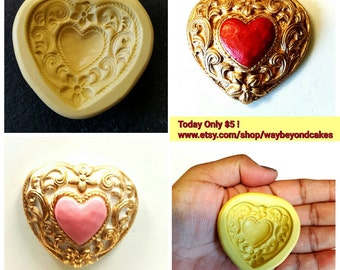Heart and Scrolls Silicone Mold 1.75 inches