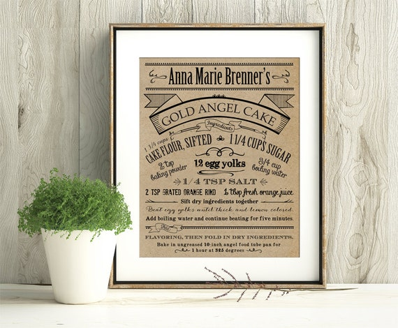 Customize Your Family Recipe - Kraft / Grain Look Print - Makes a unique gift for anyone - Frame Not Included