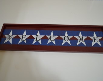 WELCOME SIGN AMERICA - Hand Made & Painted Wooden Sign Wall Decor