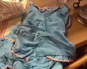1950's Aqua Blue Girls Bathing Suit