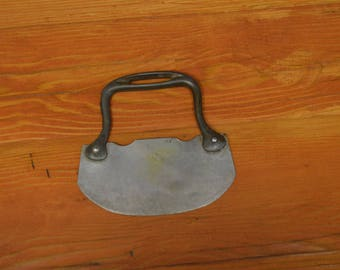 Antique primitive food chopper steel blade with cast iron handle