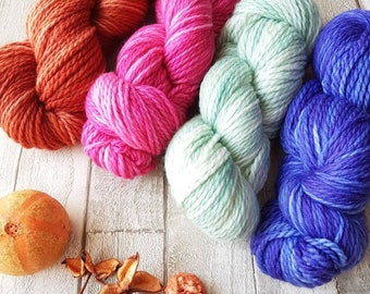 Hand dyed yarn, Blue aran yarn, Pink aran yarn, Green aran yarn, Yorkshire Dale Yarn, Aran yarn, brown aran yarn, UK