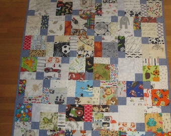 Modern Low Volume Boy I Spy Quilt, Low Volume Quilt, Modern Quilt, Baby Quilt