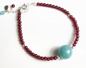 "100% natural gemstone Garnet amazonite 925 sterling silver beads bracelet 6.3"" to 7.8""  handmade jewelry"