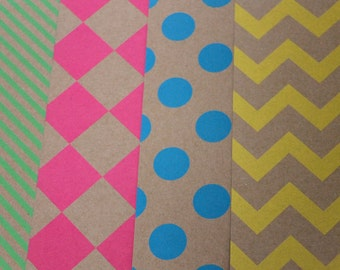 8 Sheets Designer Card Stock Paper 12 x 12 Assorted Neon Colors Single-Sided