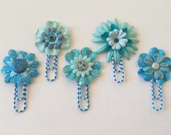 Planner Clips Blue & Teal Flowers journal accessories planner accessories bookmark