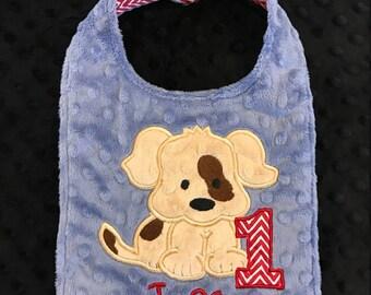 Denim Blue Puppy Birthday Bib