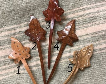 Long hair sticks in wood for dreadlocks or long hair / polished with beewax / maple leafs