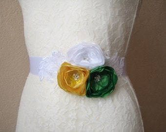White sash with flowers, Bridal dress belt, Bridesmaid accessory, Floral sash, green and yellow