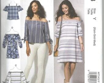 McCalls 7543 new uncut X small - medium womans off-shoulder dress and top