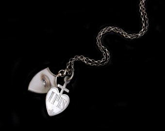 MoonsCuriousItems- Amazingly Special & Rare French Nun's Silver Heart Ex Voto  Necklace-From the 1800's-  On Long Antique Silver Chain