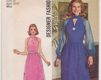 FF 70s Halter Keyhole Neckline Evening Gown Dress with Sheer Sleeves Vintage Sewing Pattern [Simplicity 6033] Size 10, Bust 32.5, UNCUT