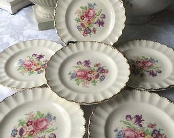 Set of 6 Vintage Leigh Ware Floral Bread and Butter Plates Tea Party Plates