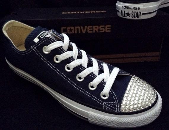 Navy Blue Converse Low Top Custom Wedding w/ Swarovski Crystal Bling Rhinestone Jewel Chuck Taylor All Star Mens Trainers Sneakers Shoes