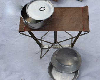 Vintage Metal Canvas Camp Stool Portable Camp Chair Folding Camp Chair Rustic Camp Seat