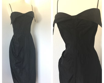 LBD / Vintage 1950s Black Wiggle Dress / de Michel Originals of California / Small - Medium / As-Is
